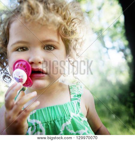 Offspring Toddler Child Girl Blonde Cute Summer Concept