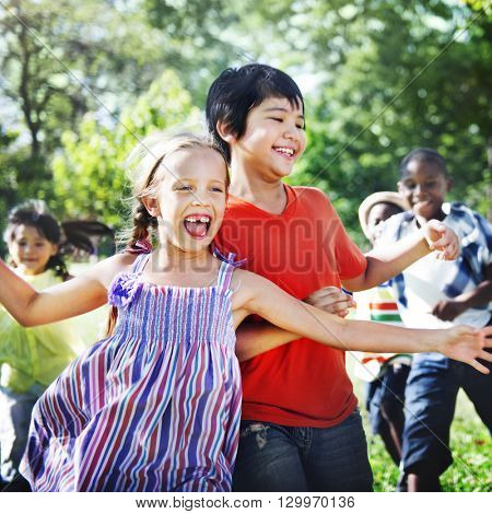 Child Kids Friends Youth Summer Happiness Concept
