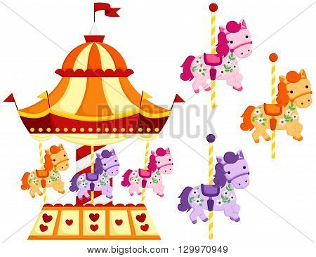 A vector of cute Carousel and Horse