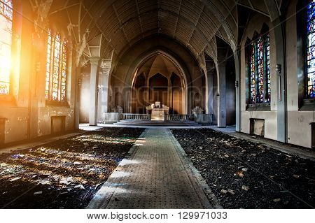 Abandoned Chapelle Without Anything Inside. Left Only Windows And Debris And Silence.