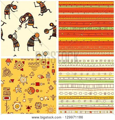 Collection of four seamless patterns with African ethnic patterns of yellow, orange, black and red color