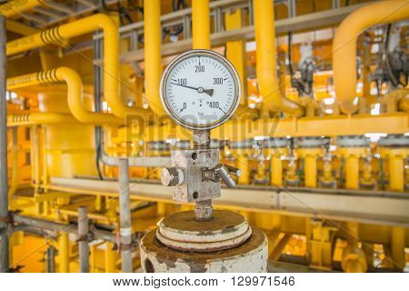 Pressure gauge for monitoring and measuring pressure in oil and gas process, Offshore oil and gas industry.Oil and gas wellhead platform in the gulf or the sea