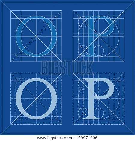 Designing Initials, letters O and P, blueprint.