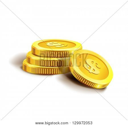 Vector Illustration of golden coins. Isolated on white.  Golden coins.