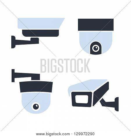 Security surveillance camera, CCTV vector icons set vector