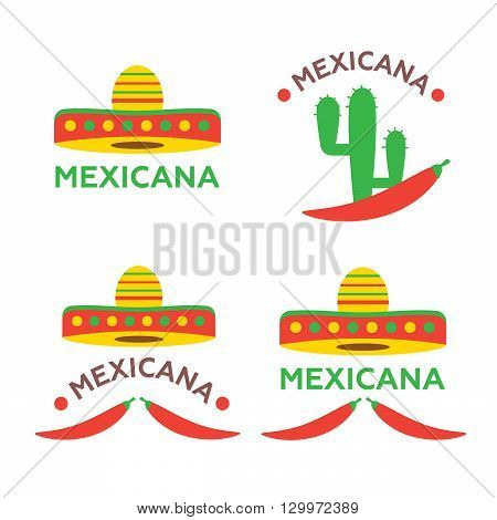 Mexican food logo, labels, emblems and badges set. Sombrero and tequila bottle, guitar element, vector illustration vector