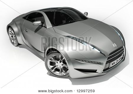 Sports car isolated on white background. My own car design. Logo on the car is fictitious.