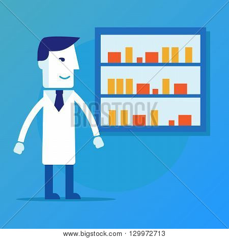 Male pharmacist in a pharmacy opposite the shelves with medicines vector