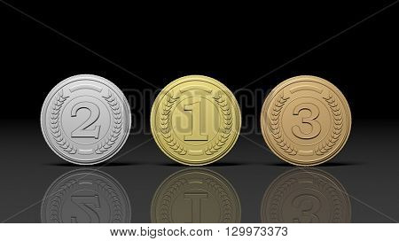 3D rendering of Close-up of 3d rendering medals for first,second and third place on black background