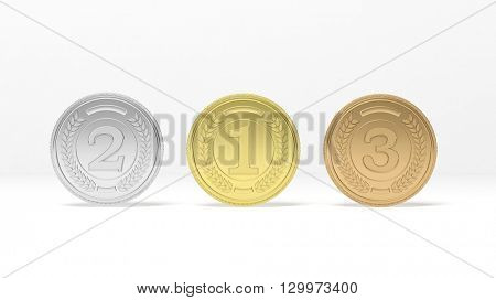3D rendering of Isolated golden,silver and bronze medals on white background