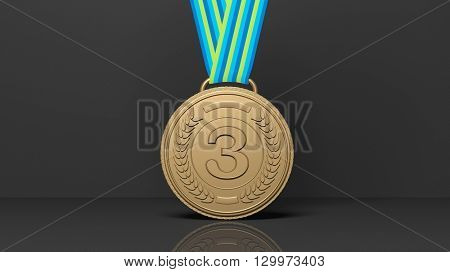 3D rendering of Close-up of 3D third place medal on black background.Isolated
