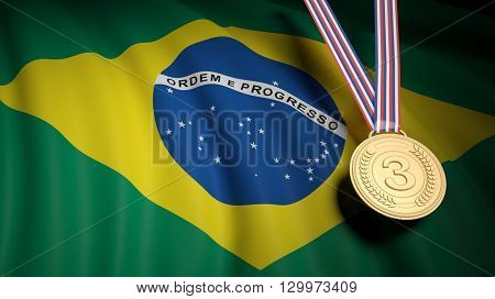 3D rendering of third place medal against of waving Brazil flag