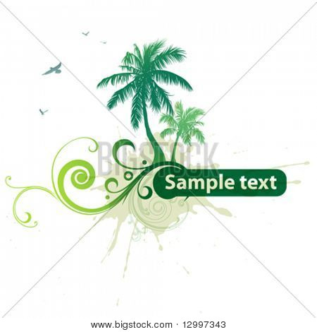 Tropical background with a frame