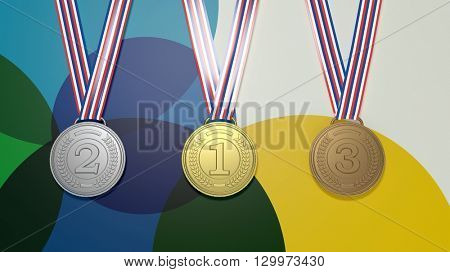 3D rendering of prize medals on colorful background