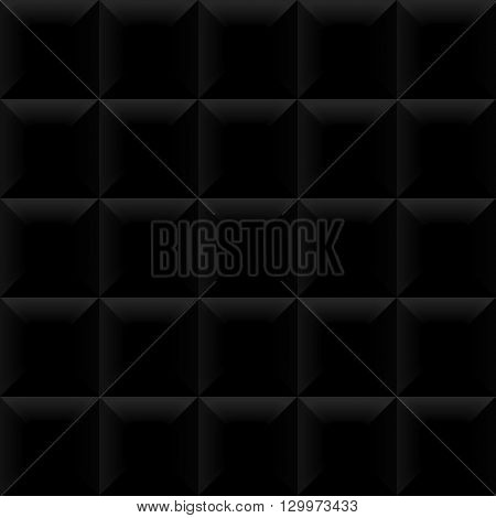 Vector black tile pattern panel background. Seamless geometric twisted design. 3D texture interior wall panel for graphic or website template layout.