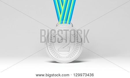 3D rendering of second place medal on white background.Isolated