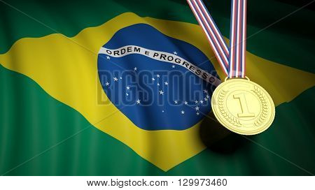 3D rendering of Close-up of golden first place medal against of Brazil national flag