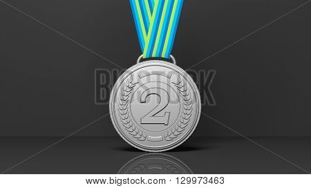 3D rendering of second  place medal on black background