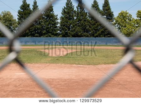 Looking at a little league baseball field through a chain link fence