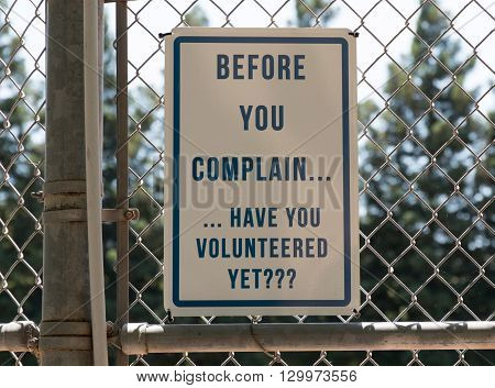 Before You Complain Sign