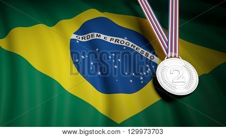 3D rendering of silver second place medal on Brazil flag