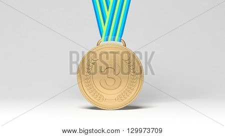 3D rendering of Close-up of third place medal on white background