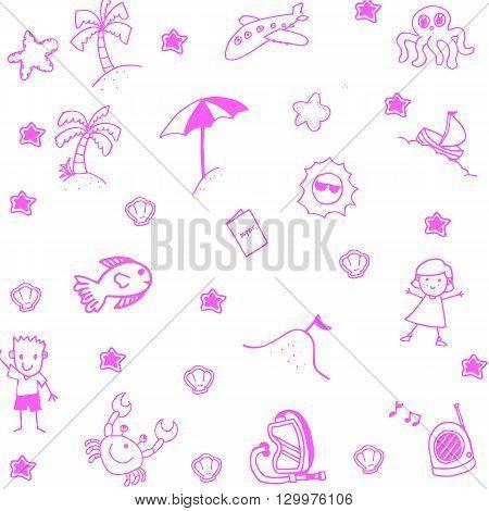 Pink Icon set summer beach doodle art