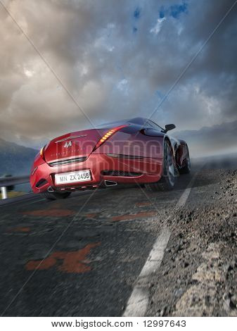 Red sports car moving on the mountain road. Original car design. Logo on the car is fictitious.