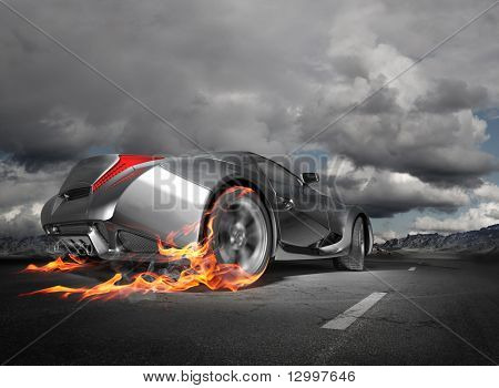 Sportwagen-Burnout.  Original Auto-Design.