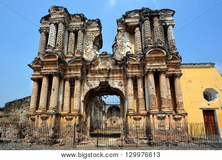 ANTIGUA GUATEMALA MAY 02 2016: The ruins of the El Carmen church to see what is left of this once magnificent edifice.