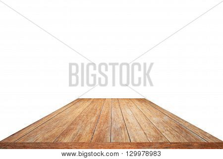 Old wood pattern table top isolated on white background - for display or montage your products