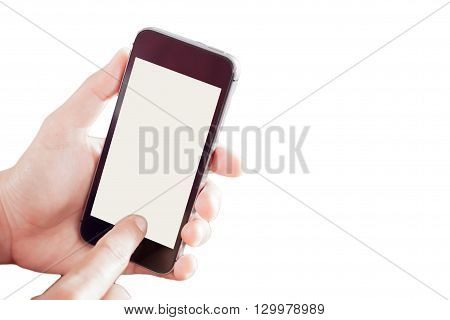Smart phone in a woman hand on white background, stock photo