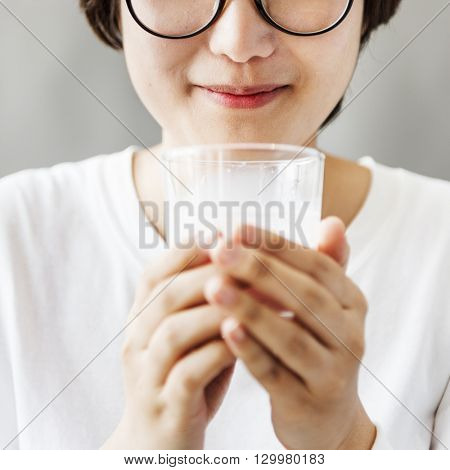 Asian Girl Drinking Milk Beverage Grow Up Relaxation Concept