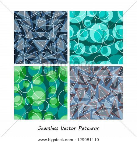Geometrical colorful vector seamless patterns set. Elements for your design. Eps10