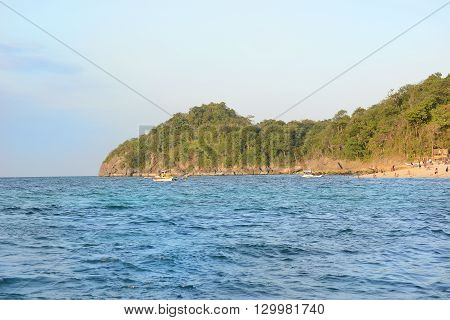 BORACAY PHILIPPINES - APRIL 8 2016: Beach on Boracay Island seen from the water. The island is noted for its diving and water sports.