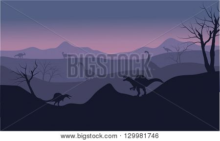 Silhouette of Brachiosaurus and spinosaurus at the sunset