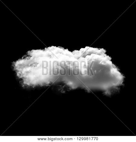 Single white cloud isolated over black solid background