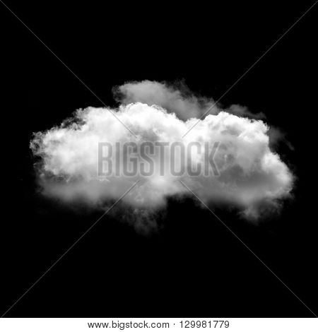Single white fluffy cloud isolated over black solid background. Weather forecast