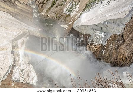 Bird's eye view of the Lower Falls of the Yellowstone River in the Grand Canyon of the Yellowstone in Yellowstone National Park