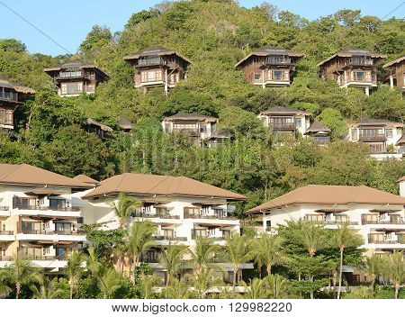 BORACAY PHILIPPINES - APRIL 7 2016: Shangri La Boracay Resort and Spa Villas. The luxury resort is adjacent to an eco-reserve.