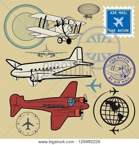 Set of air mail and airplane symbols, vector illustration