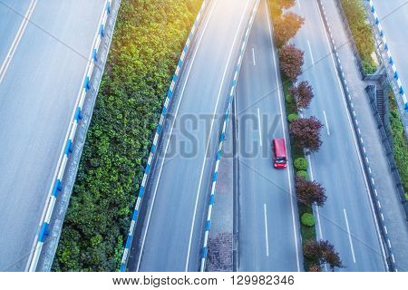 aerial view of traffic on chongqing overpass on a sunny day,china.