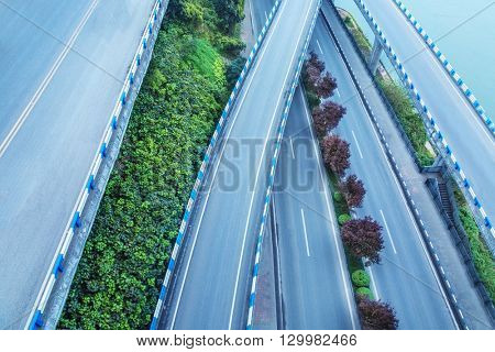 aerial view of overpass in chongqing ,china