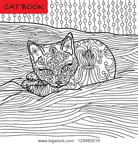 Coloring cat page for adults. Adorable baby kitten lying on the sofa. Hand drawn illustration with patterns. Zenart