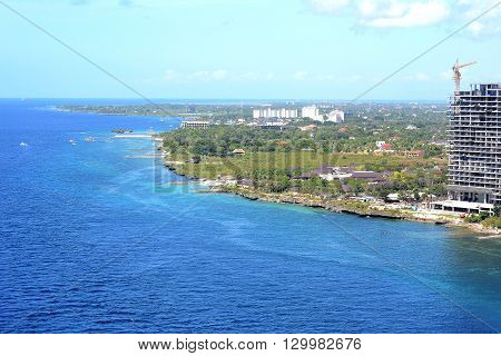 CEBU PHILIPPINES - APRIL 5 2016: Aerial View of Cebu Island. Shangri-La Mactan Resort and Spa are visible along with other resorts and new construction.