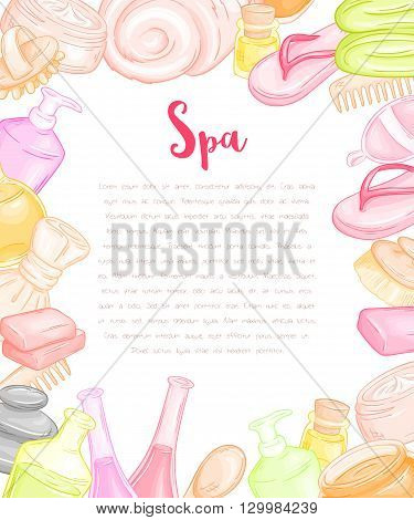vector hand drawn blank design for invitation or gift voucher surrounded spa and massage accessories - oil bottles, soaps, towels, brushes ans slippers.