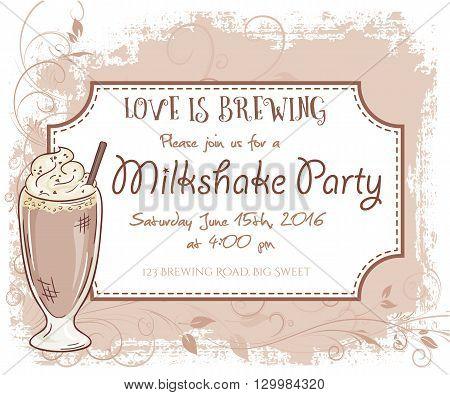 vector hand drawn milkshake party invitation card, vintage frame, glass and leaves.