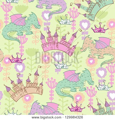Vector background with castle and cartoon dragons. Seamless pattern can be used for wallpapers, pattern fills, web page backgrounds, surface textures