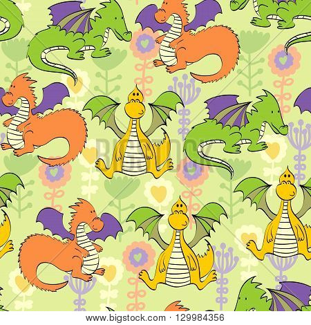 Vector background with flowers and cartoon dragons. Seamless pattern can be used for wallpapers, pattern fills, web page backgrounds, surface textures