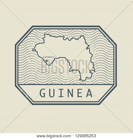Stamp with the name and map of Guinea, vector illustration